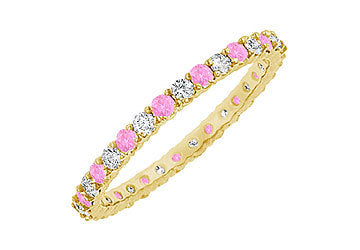 Pink Sapphire and Diamond Eternity Bangle : 14K Yellow Gold - 6.00 CT TGW