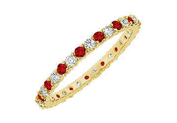 Ruby and Diamond Eternity Bangle : 14K Yellow Gold - 6.00 CT TGW