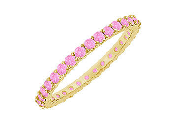 Pink Sapphire Eternity Bangle : 14K Yellow Gold - 6.00 CT TGW