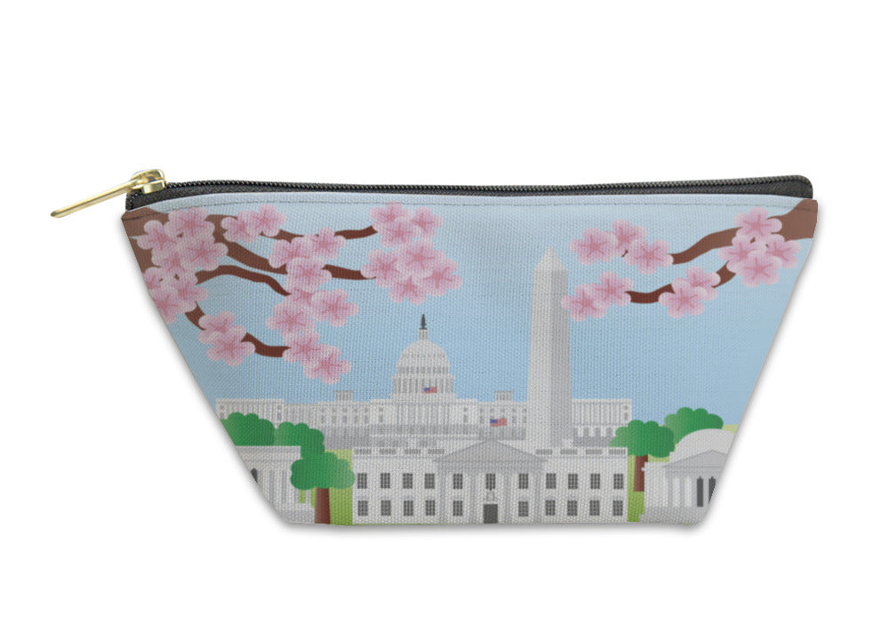Accessory Pouch, Washington Dc Landmarks With Cherry Blossom