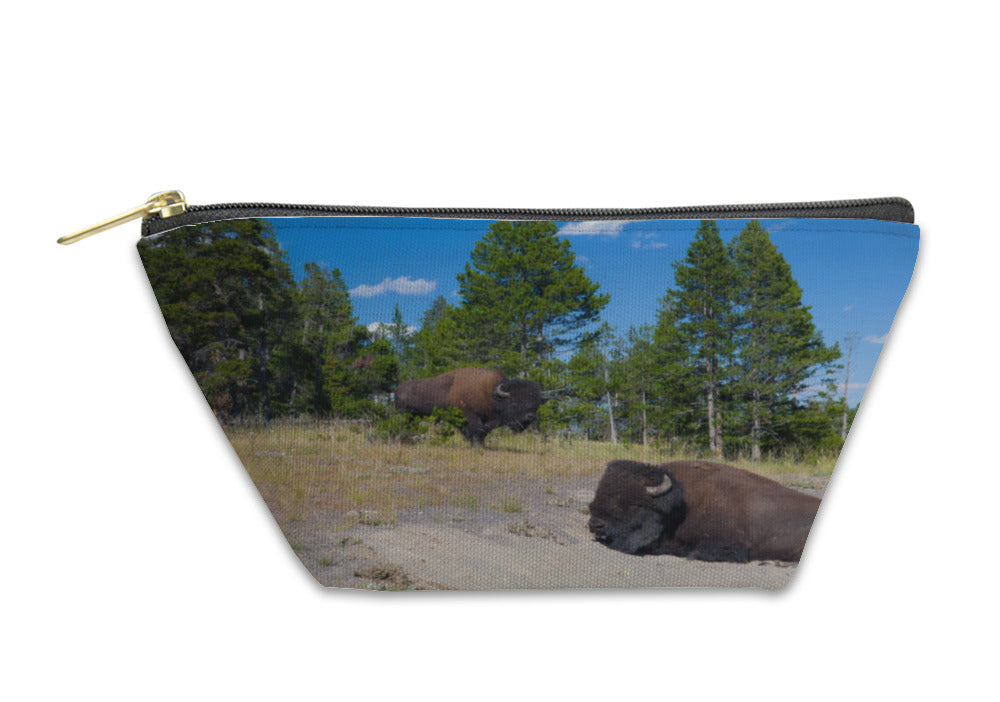 Accessory Pouch, Two American Bison In Yellowstone National Park