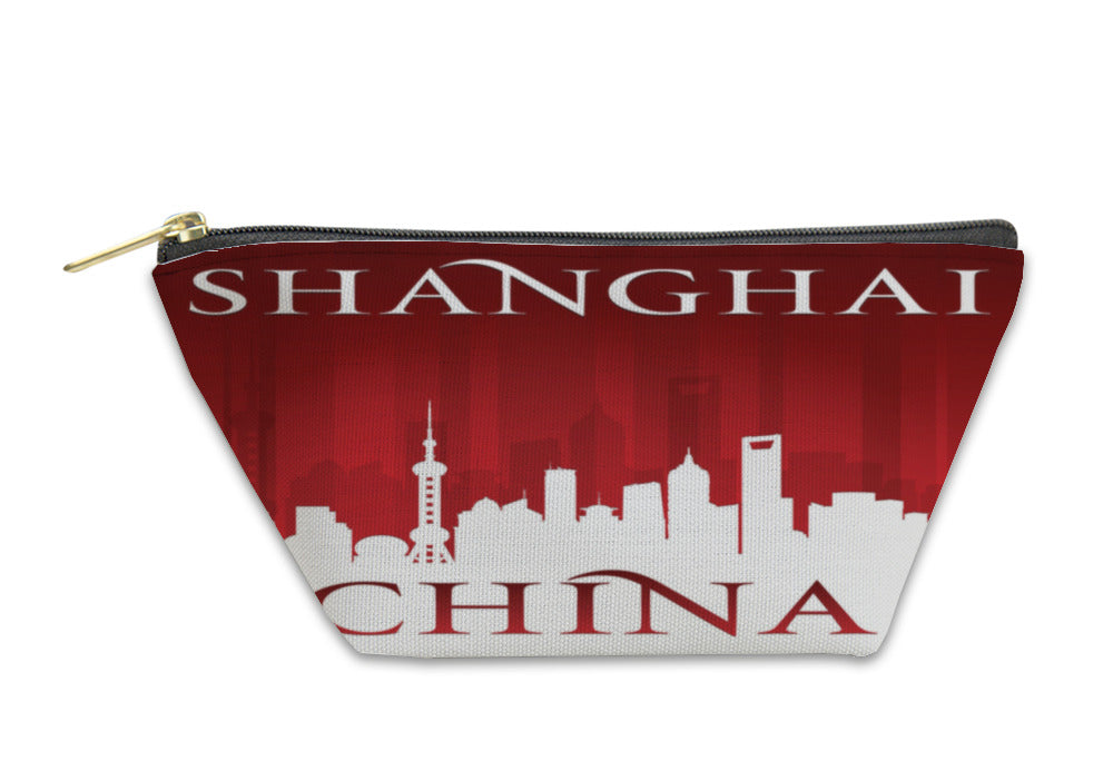 Accessory Pouch, Shanghai China City Skyline Silhouette Red