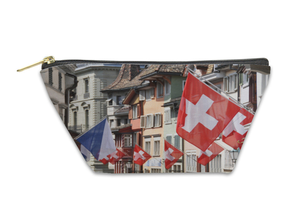 Accessory Pouch, Old Street In Zurich Decorated With Flags For The Swiss National