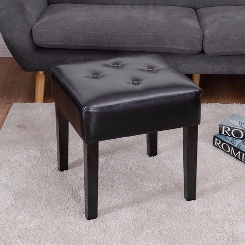 Square PU Leather Ottoman Footstool Tufted