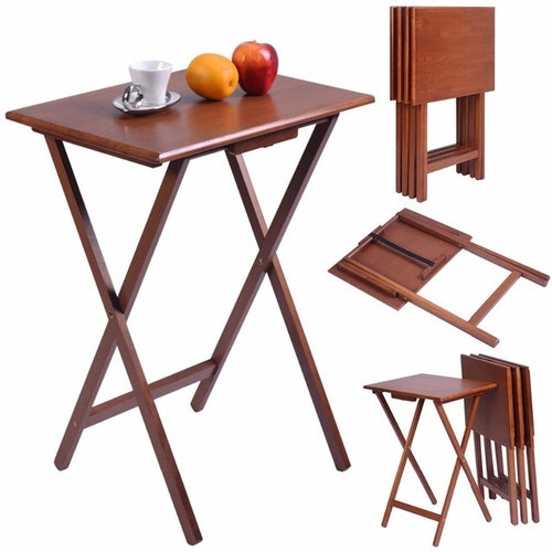 Set of 4 Pieces Portable Wood TV Table