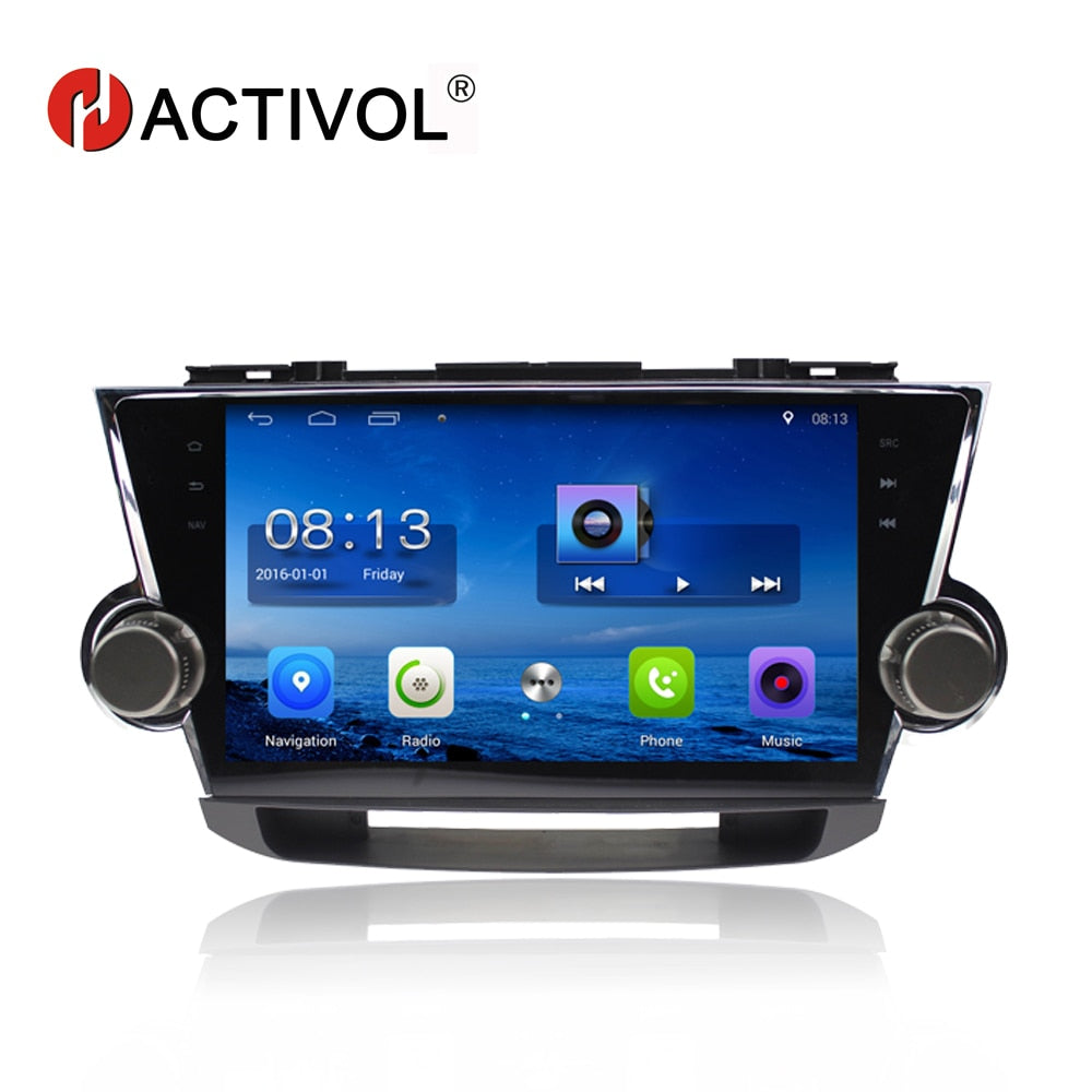 "HACTIVOL 10.2"" Quadcore car radio for Toyota Highlander Kluger 2008 2009 2010 2011 2012 android 7.0 car DVD player with 1G 16G"