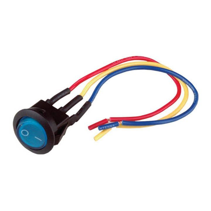 "Nippon mini rocker switch with 6"" lead wire blue color LED"