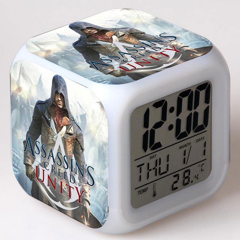 In Stock LED Alarm Clock Glowing Colorful Touch Light Movie Figurine Assassins Creed PVC Action Figure Desktop Collect Toys
