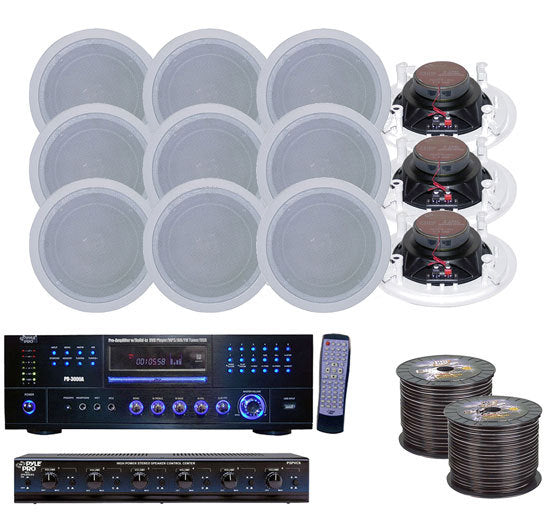 6 Room Home In-Ceiling Speakers W/DVD/MP3 Amp System