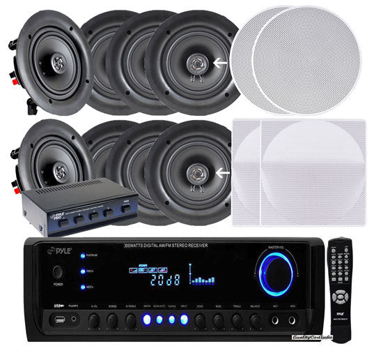 "4 Pairs of 150W 5.25"" In-Wall / In-Ceiling Stereo White Speakers w/ 300W Digital Home Stereo Receiver w/ USB/SD/AUX Input, Remote w/ 4 Channel High Power Stereo Speaker Selector"