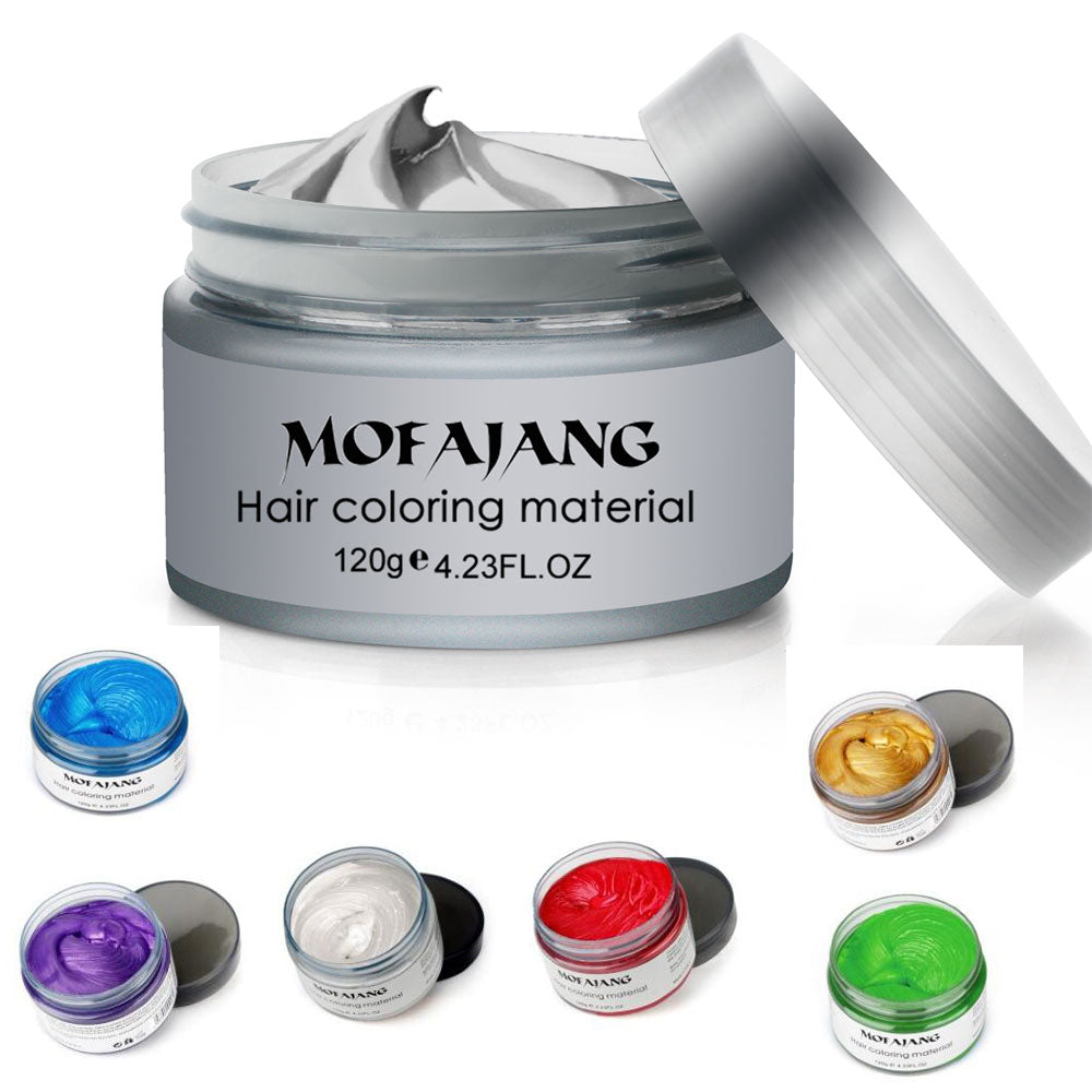 Unisex Hair Color Mud Wax Dye One-Time Molding Paste Grandma Gray Color Temporary Hair Color Cream Styling Tools Hair Care 120g