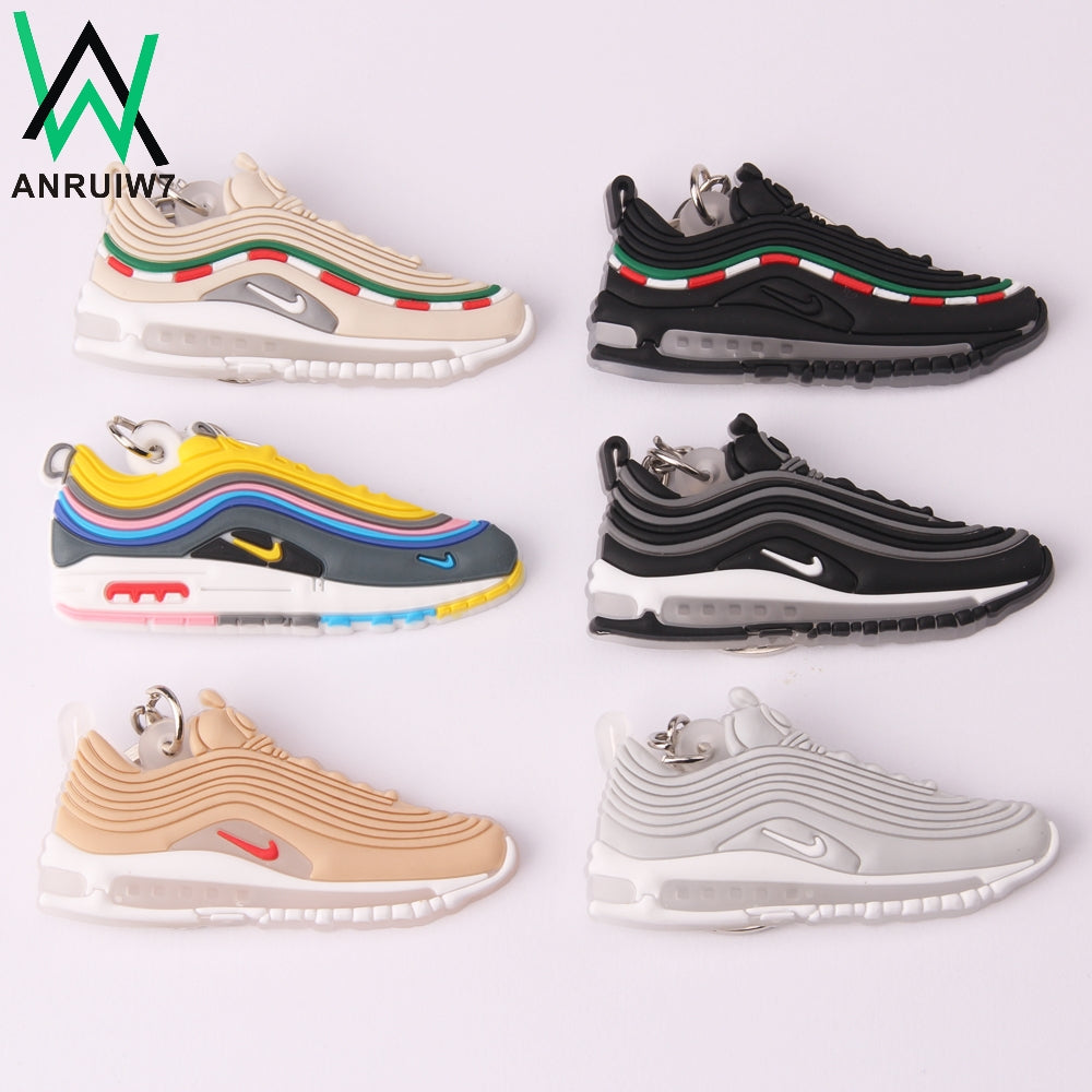 New Color Mini Silicone Max 97 Keychain Woman Bag Charm Men Kids Key Ring Gifts Sneaker Accessories Shoes Key Chain