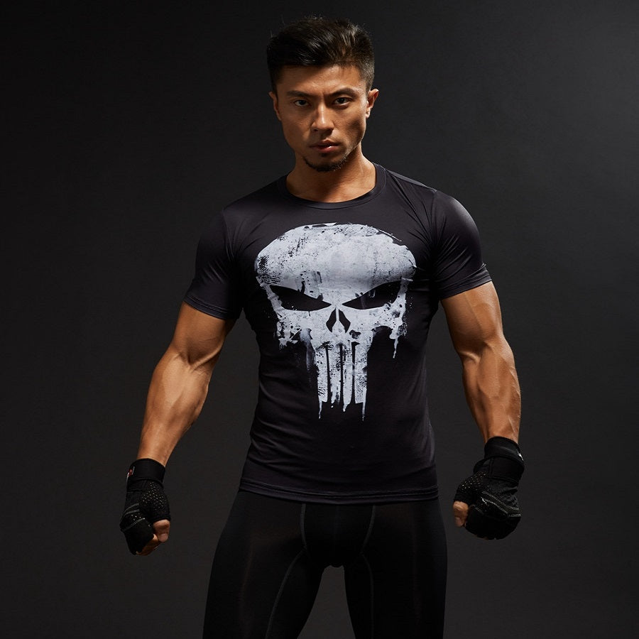 Punisher Compression Shirt Mens Tops Skulls 3D Digital Printed Tight Fitness T-shirt Shipping in united states