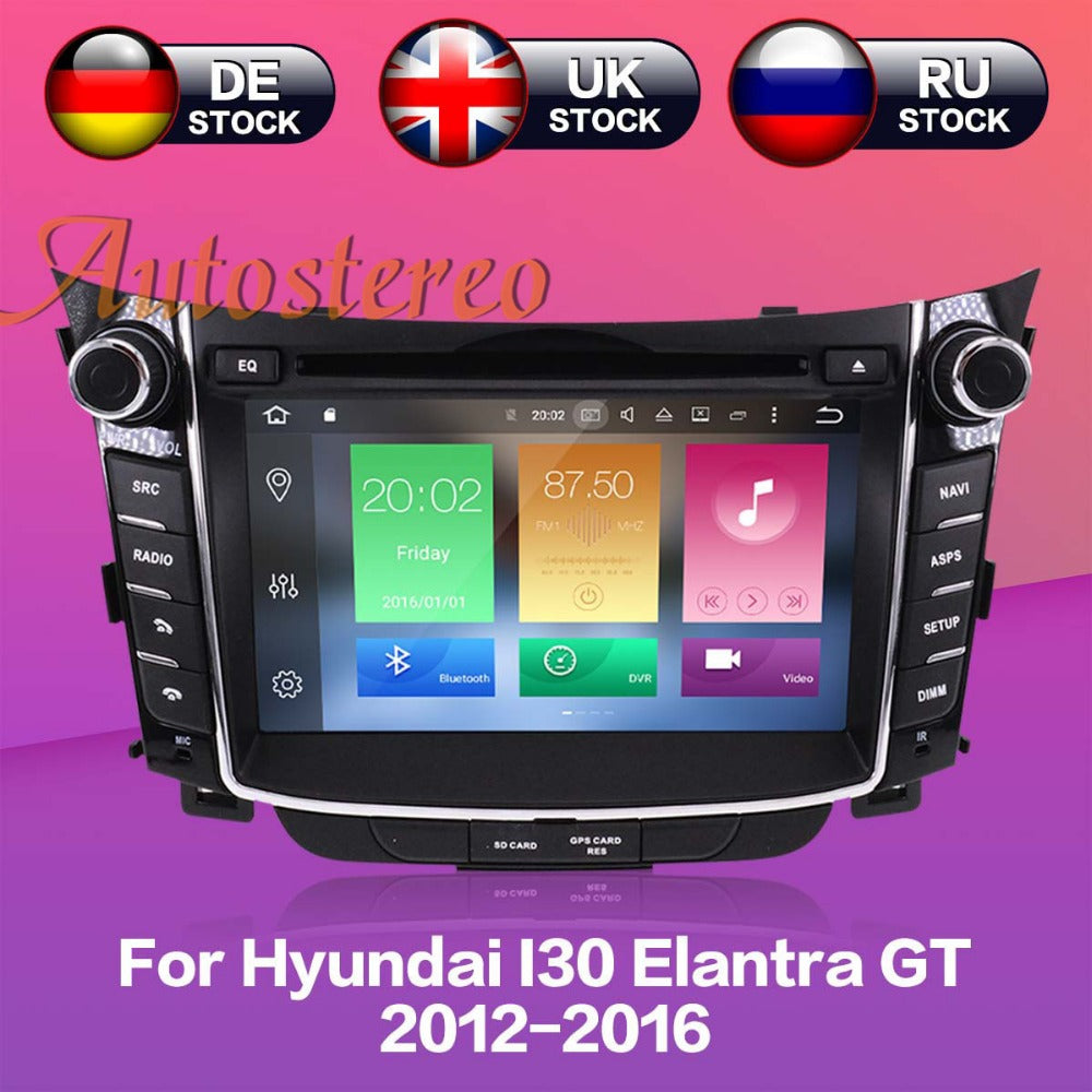Octa Android8 4GB RAM Car DVD player GPS Navigation Headunit For Hyundai I30 Elantra GT 2012+ multimedia radio tape recorder IPS