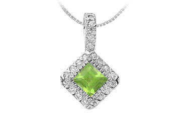 Peridot and Diamond Pendant : 14K White Gold - 0.75 CT TGW