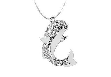 Diamond Fish Pendant : 14K White Gold - 0.75 CT Diamonds