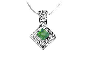 Emerald and Diamond Pendant : 14K White Gold - 0.75 CT TGW