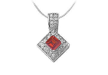 Ruby and Diamond Pendant : 14K White Gold - 0.75 CT TGW