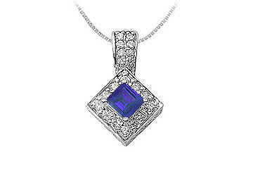 Sapphire and Diamond Pendant : 14K White Gold - 0.75 CT TGW