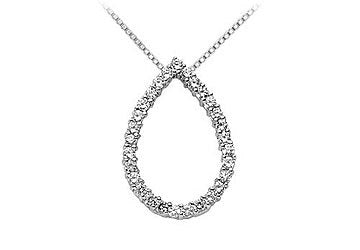 Drop Diamond Pendant : 14K White Gold - 0.50 CT Diamonds