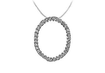 Diamond Oval Pendant : 14K White Gold - 0.75 CT Diamonds