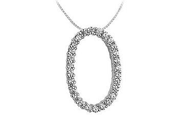Diamond Oval Pendant : 14K White Gold - 0.85 CT Diamonds