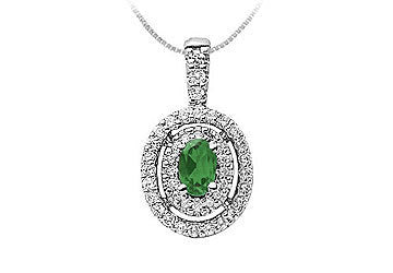 Emerald and Diamond Pendant : 14K White Gold - 1.00 CT TGW