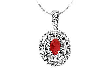 Ruby and Diamond Pendant : 14K White Gold - 1.00 CT TGW
