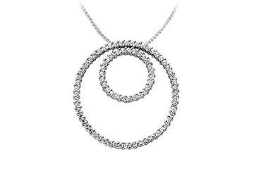 Diamond Circle Pendant : 14K White Gold - 1.25 CT Diamonds