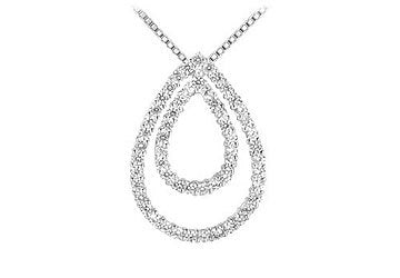 Pear Shape Diamond Pendant : 14K White Gold - 1.75 CT Diamonds