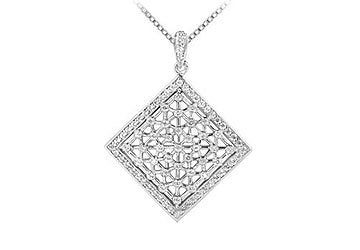 Diamond Square Pendant : 14K White Gold - 0.50 CT Diamonds