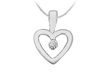 Diamond Heart Pendant : 14K White Gold - 0.10 CT Diamonds