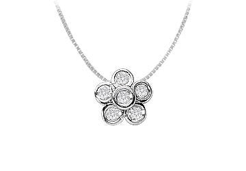 Diamond Flower Pendant : 14K White Gold - 0.50 CT Diamonds