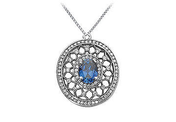 Sapphire and Diamond Pendant : 14K White Gold - 1.50 CT TGW