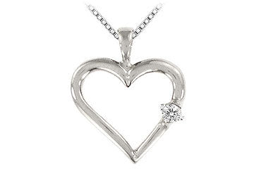 Diamond Heart Pendant : 14K White Gold - 0.05 CT Diamonds