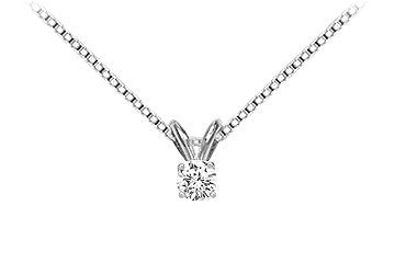 14K White Gold : Round Diamond Solitaire Pendant - 0.15 CT TW.