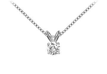 14K White Gold : Round Diamond Solitaire Pendant - 0.25 CT. TW.