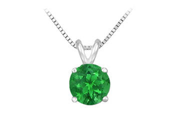 14K White Gold Prong Set Natural Emerald Solitaire Pendant 0.25 CT TGW