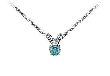 Blue Diamond Solitaire Pendant : 14K White Gold - 0.25 CT Diamonds