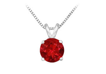 14K White Gold Prong Set Natural Ruby Solitaire Pendant 0.25 CT TGW