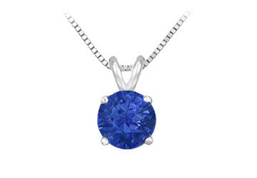 14K White Gold Prong Set Natural Sapphire Solitaire Pendant 0.25 CT TGW