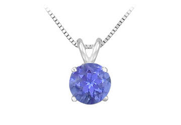 14K White Gold Prong Set Natural Tanzanite Solitaire Pendant 0.25 CT TGW