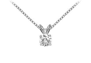 14K White Gold : Round Diamond Solitaire Pendant - 0.33 CT. TW.
