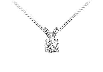 14K White Gold : Round Diamond Solitaire Pendant - 0.50 CT. TW.