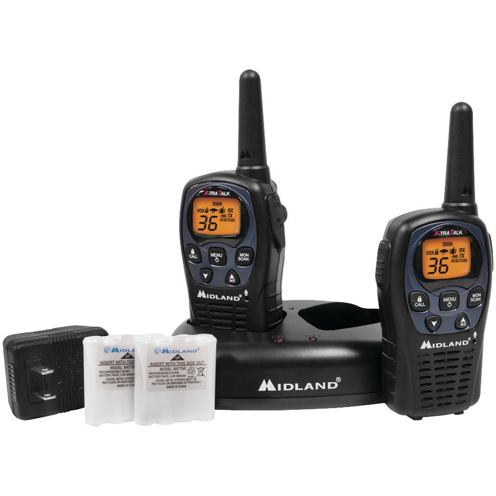 Midland(R) LXT560VP3 26-Mile GMRS Radio Pair Pack with Drop-in Charger & Rechargeable Batteries