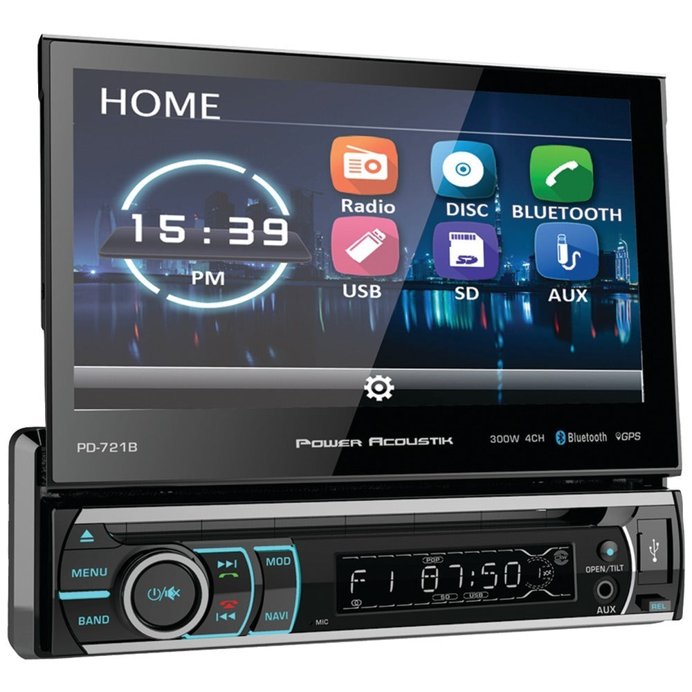 Power Acoustik(R) PD-721B 7 Incite Single-DIN In-Dash Motorized LCD Touchscreen DVD Receiver with Detachable Face & Bluetooth(R)