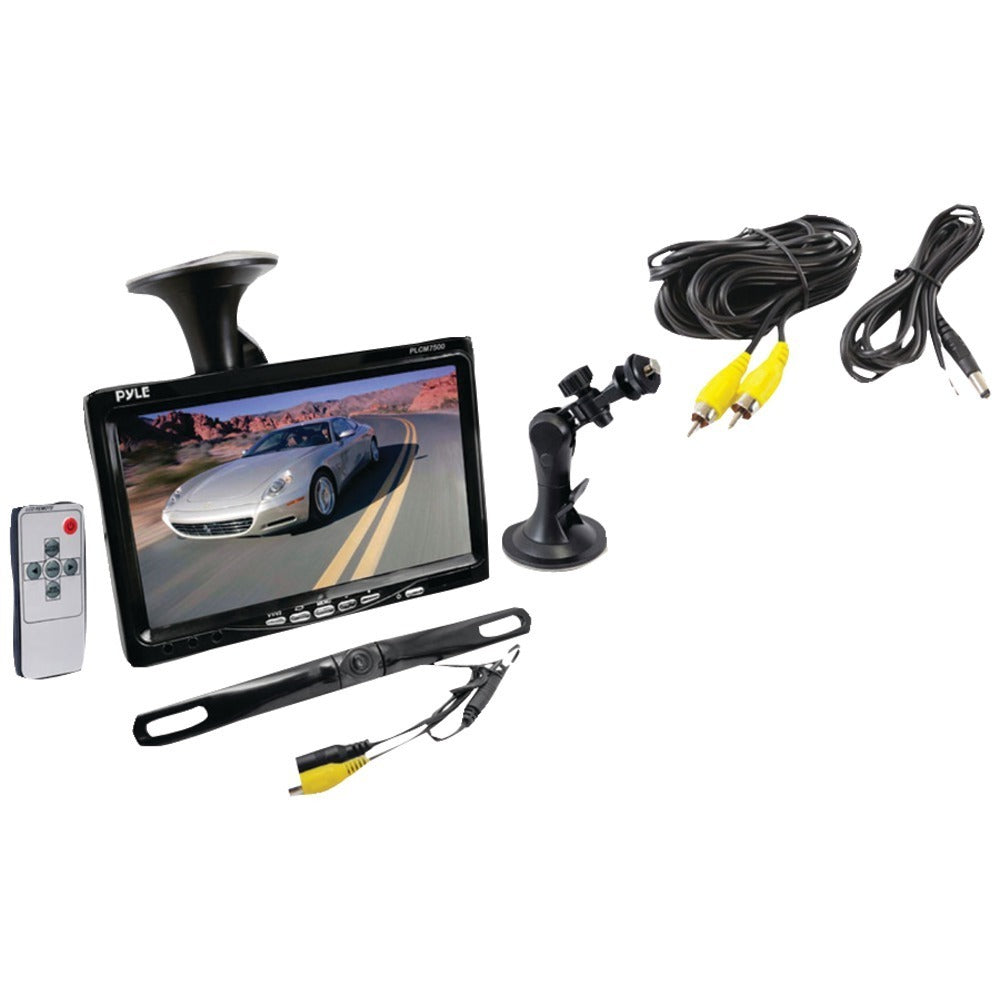 Pyle(R) PLCM7500 7 Window Suction-Mount LCD Widescreen Monitor & License-Plate-Mount Backup Color Camera with Distance-Scale Line