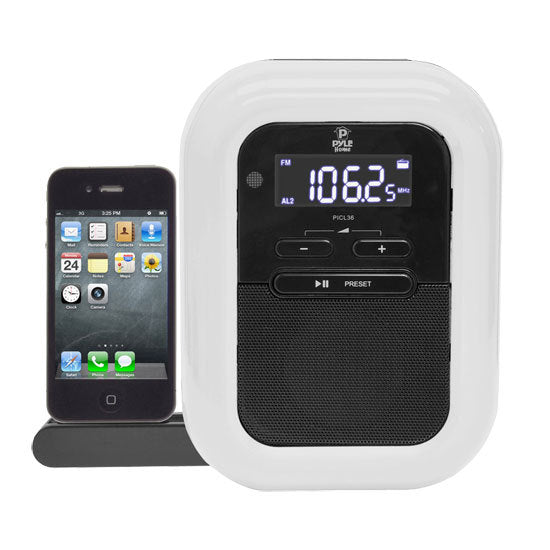 iPod iPhone Dock Clock Radio with FM Radio, LED Nightlight, Dual Alarm Clock & AUX Input for Samsung Galaxy, iPhone 5 and Other Devices
