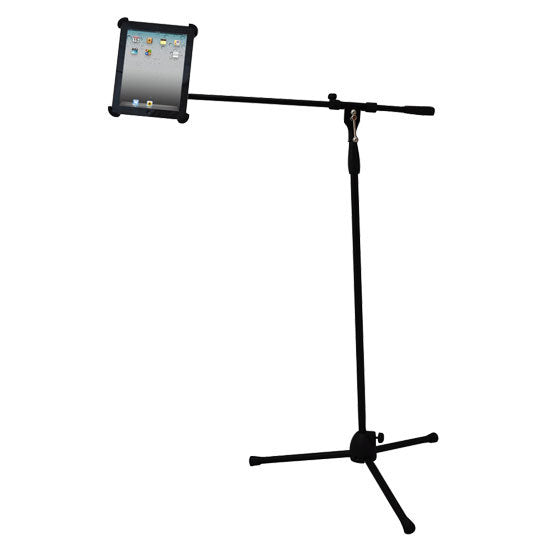 Multimedia iPad and Microphone Stand - Adjustable to Fit All iPad Models
