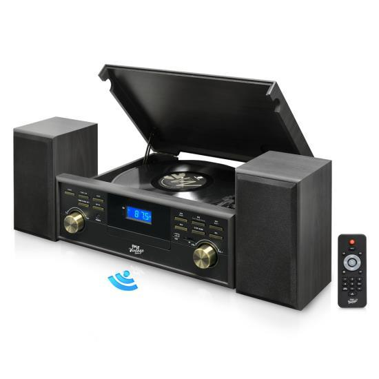 Vintage Retro Classic Style Bluetooth Turntable Speaker System with Vinyl/MP3 Recording Ability